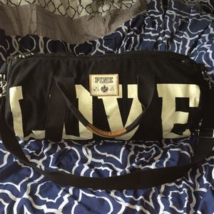 Love Pink Black Canvas Duffle Bag